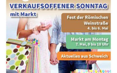 Schweich im Mai: Fest der Römischen Weinstraße, verkaufsoffener Sonntag und Markt